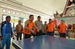 Pembukaan Pertandingan Tenis Meja Bupati ditandai dengan Pelaksanaan pertandingan eksebisi antara Bupati Pakpak Bharat Remigo Yolando Berutu, MBA dengan Ketua Panitia Lambok Solin,M.Pd dilanjutkan dengan pemukulan bola pertama